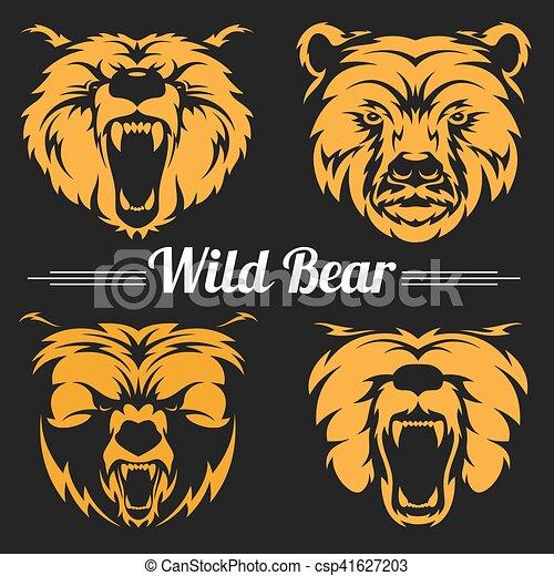 Bear faces mascot emblem symbols. - csp41627203