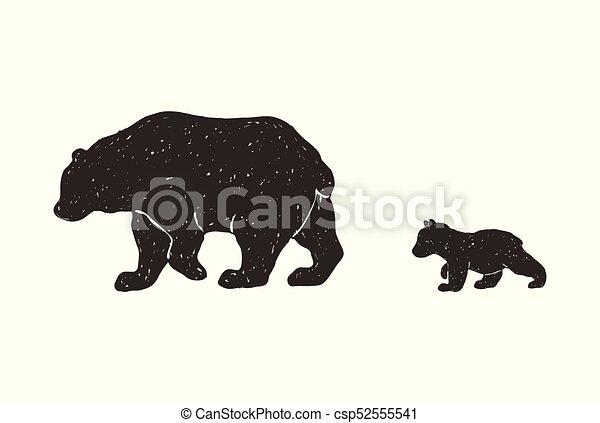 bear family hand draw vector grunge illustration of the bear family