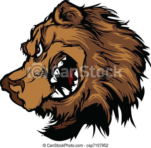 Bear Grizzly Mascot Head Cartoon - csp7107952