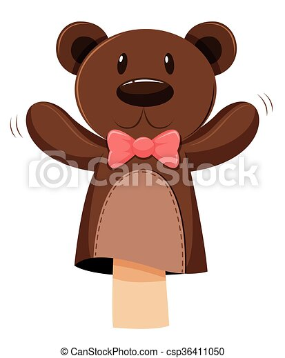Bear hand puppet with pink bow - csp36411050