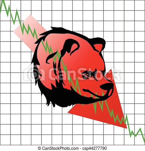 bear head symbolizes the bear market with stock graph as background. - csp44277790
