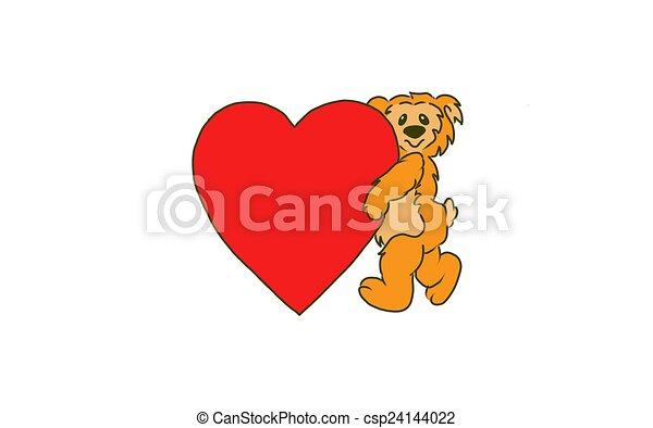 Bear holding a big red heart. - csp24144022