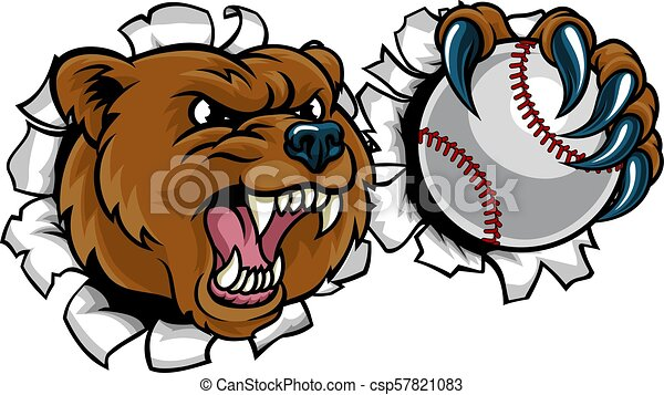 Bear Holding Baseball Ball Breaking Background - csp57821083