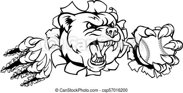 Bear Holding Baseball Ball Breaking Background - csp57016200