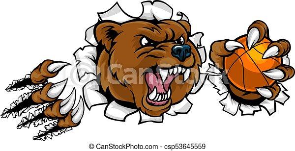 Bear Holding Basketball Ball Breaking Background - csp53645559