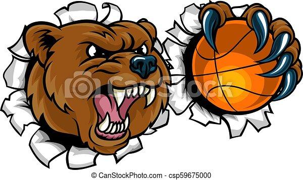 Bear Holding Basketball Ball Breaking Background - csp59675000