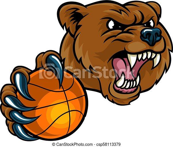 Bear Holding Basketball Ball - csp58113379