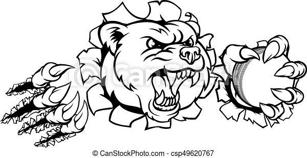 Bear Holding Cricket Ball Breaking Background - csp49620767