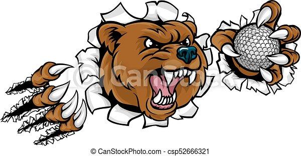 Bear Holding Golf Ball Breaking Background - csp52666321