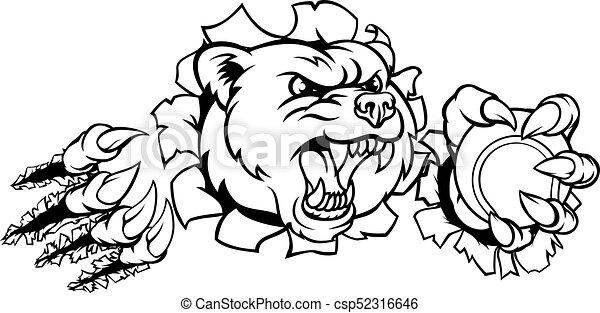 Bear Holding Tennis Ball Breaking Background - csp52316646