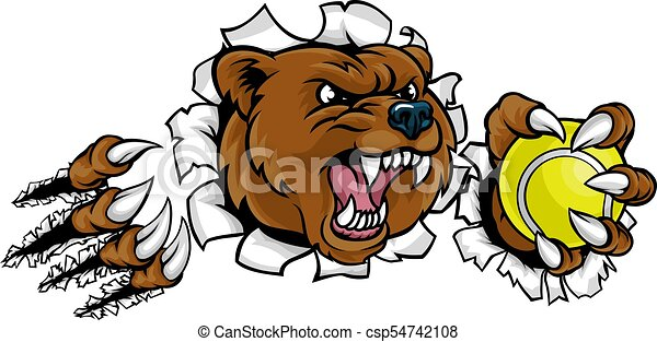 Bear Holding Tennis Ball Breaking Background - csp54742108