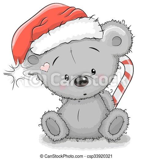 Bear in a Santa hat - csp33920321