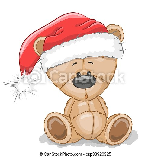 Bear in a Santa hat - csp33920325