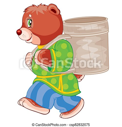 bear in clothes carries a wicker basket on his shoulders, cartoon illustration, illustration on a white background, vector illustration, - csp82832075