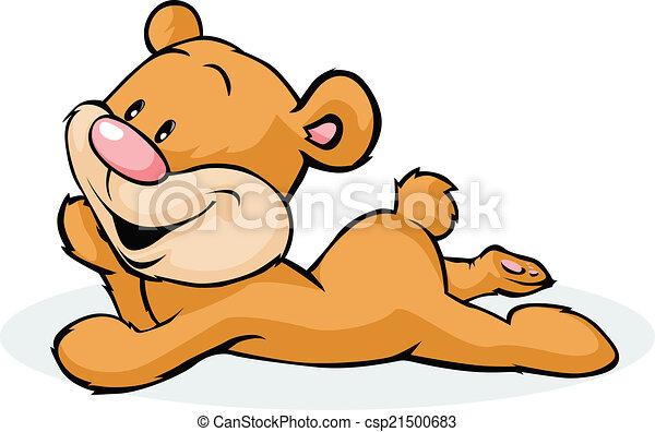 bear laying isolated on white background - csp21500683