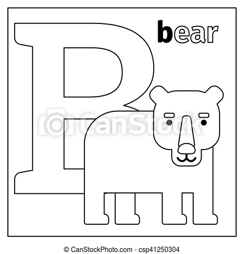 Bear Letter B Coloring Page