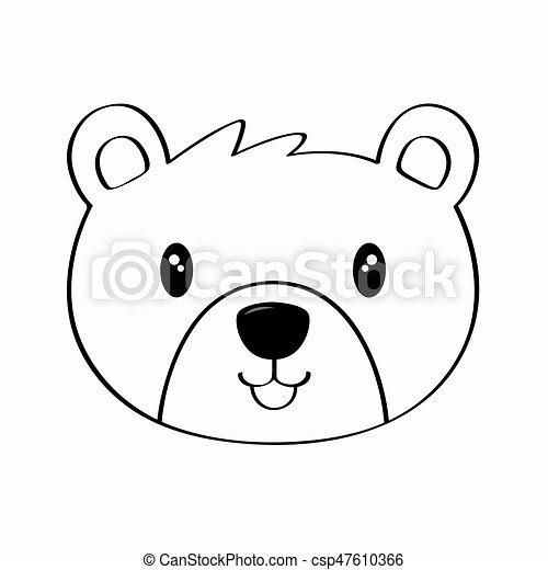 Bear Line Art Vector - csp47610366