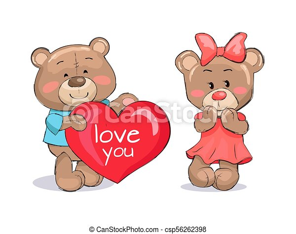 Bear Male Holding Red Heart Text I love You Vector - csp56262398