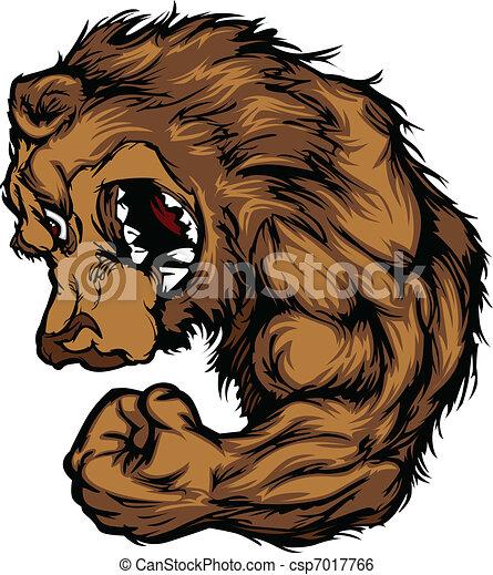Bear Mascot Flexing Arm Cartoon - csp7017766