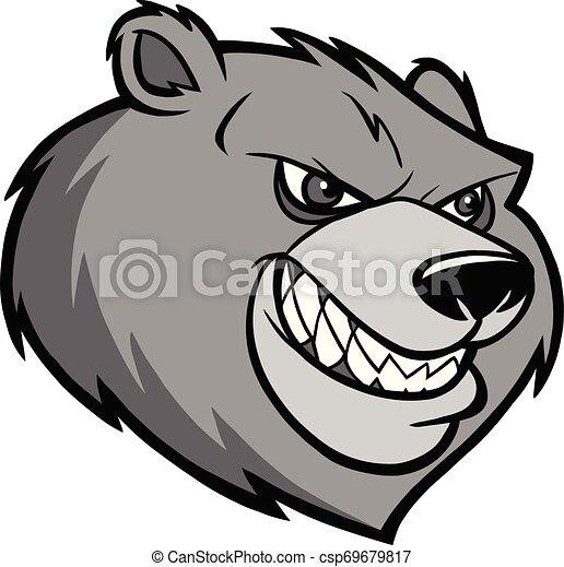 Bear Mascot Head Illustration - csp69679817