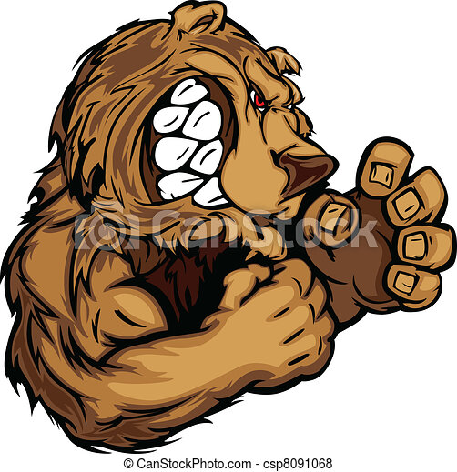 Bear Mascot with Fighting Hands Gra - csp8091068