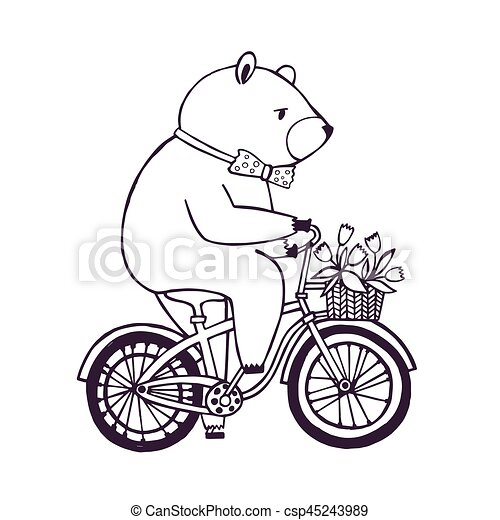 Bear on the bicycle with basket and flowers. Cartoon contour Illustration on white background. - csp45243989