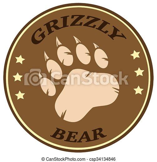 Bear Paw Print Brown Circle Label  - csp34134846