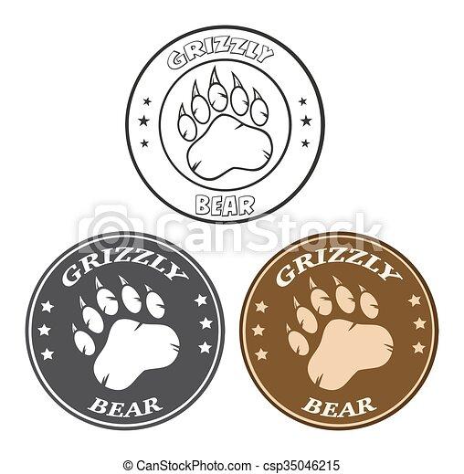 Bear Paw Print Circle Collection  - csp35046215