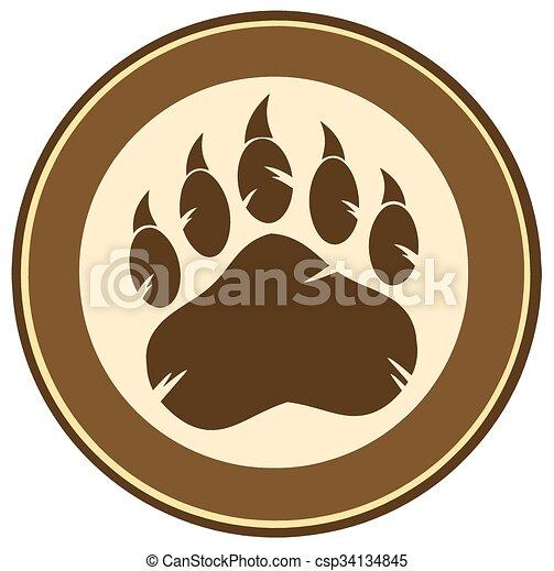Bear Paw Print Circle Label Design - csp34134845