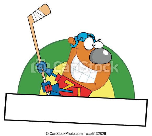 Bear Playing Ice Hockey  - csp5132826