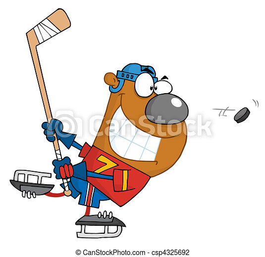 grinning bear playing ice hockey vector illustration search rh canstockphoto com hockey clip art images free hockey clip art borders