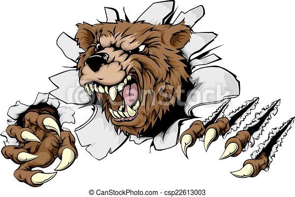 Bear ripping through background - csp22613003