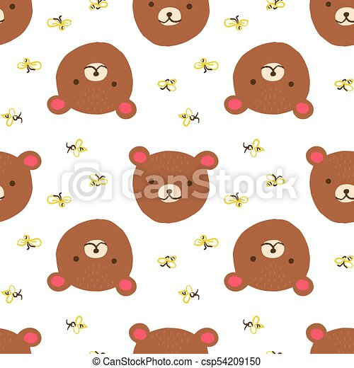 Bear Seamless Pattern Cute Bear With Bees Vector Seamless Pattern