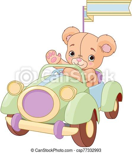 Bear sitting in Toy Car - csp77332993