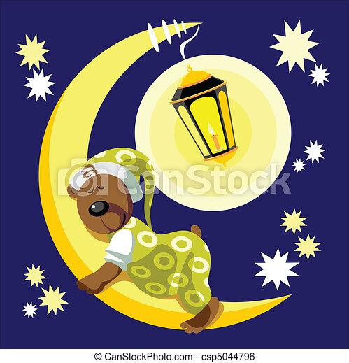 Bear sleep on moon color 17 - csp5044796