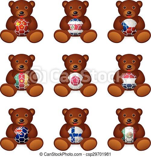 Bear soccer ball flag - csp29701981