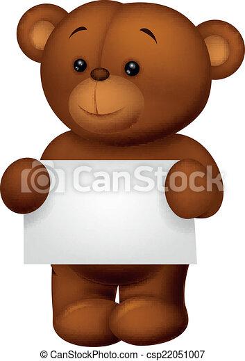 Bear stuff holding blank paper - csp22051007