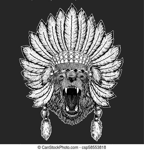 e97e2f965d49c Bear Traditional Ethnic Indian Boho Headdress Tribal Shaman Hat Ceremonial  Element