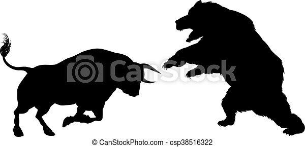 Bear Versus Bull Silhouette Concept - csp38516322