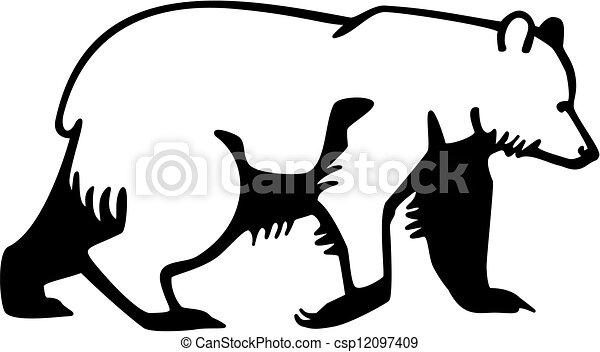 Bear walking. Stylized vector drawing of an alaskan brown ...