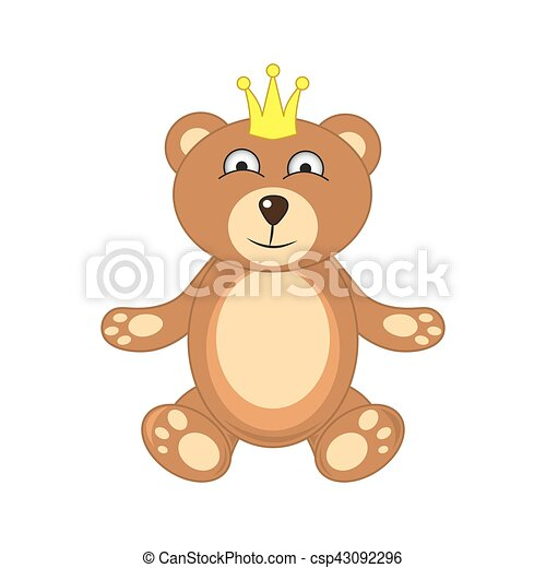 bear with crown isolated on white background - csp43092296