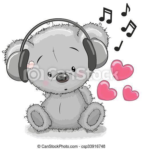 Bear with headphones - csp33916748