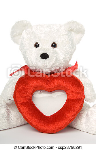 Bear With Heart Frame White Teddy Bear Holding Heart Shaped Picture