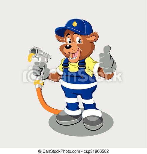 bear with oil gas pump heating - csp31906502