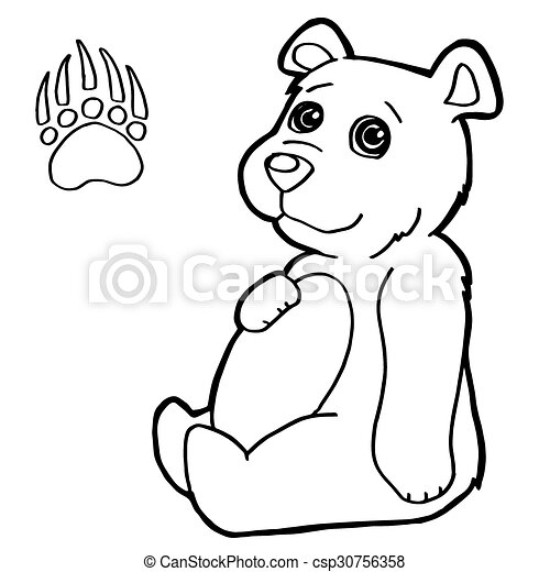 bear with paw print Coloring Pages  - csp30756358