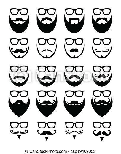Beard and glasses, hipster icons  - csp19409053