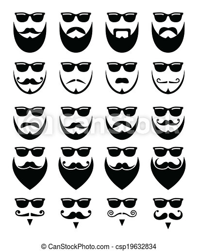 Beard and sunglasses, hipster icons - csp19632834