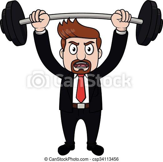 Beard business man weight lifting - csp34113456