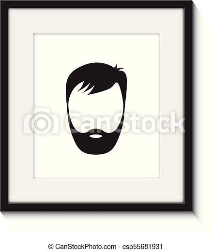 Young Man Wearing Beard Holding Picture Frame In Front Of His Face And