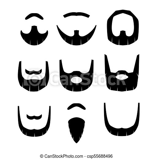 Beard set  isolated on white background vector illustration. - csp55688496